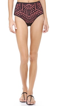 Mara Hoffman Laser Cut High Waisted Bikini Bottoms