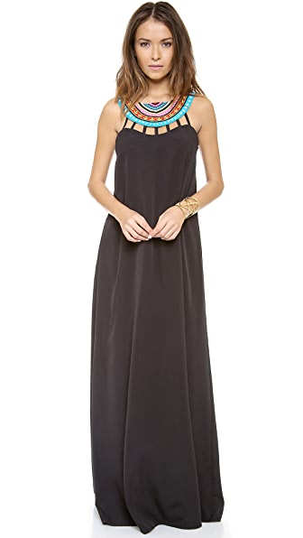 Mara Hoffman Laser Cut Beaded Neck Maxi Dress