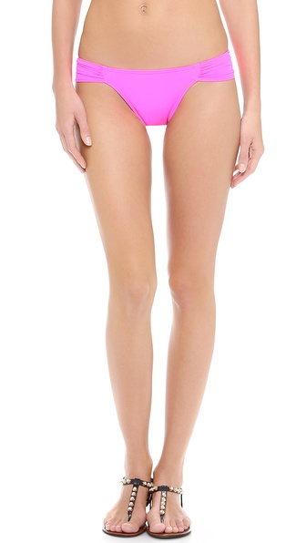 Shop Mara Hoffman online and buy Mara Hoffman Ruched Side Bikini Bottoms Neon Pink - A vivid pair of ruched Mara Hoffman bikini bottoms. Lined. 80% nylon/20% spandex. Hand wash. Made in the USA. Available sizes: M,S,XS