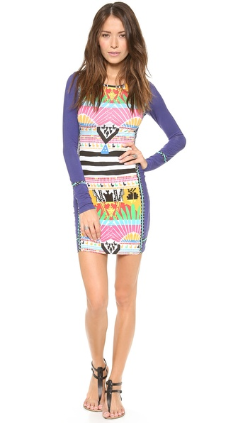 Mara Hoffman Long Sleeve Fitted Mini Dress