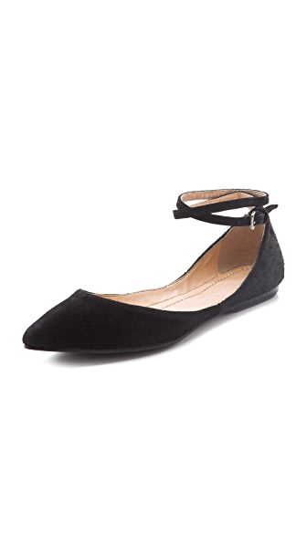 Marais USA Double Strap Suede Flats with Haircalf
