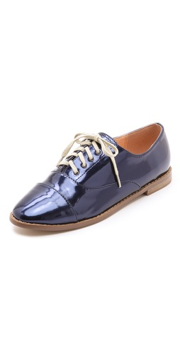 Shop Marais USA online and buy Marais USA Montauk Oxfords - Menswear-inspired oxfords in metallic faux leather. Contrast lace-up closure and slim, stacked heel. Synthetic sole.  Imported, China. This item cannot be gift-boxed.  MEASUREMENTS Heel: 0.75in / 20mm - Navy