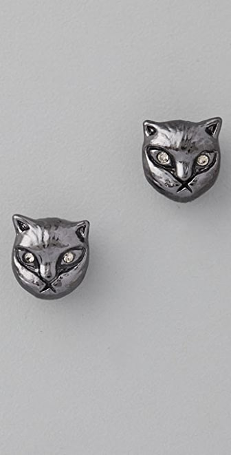 Marc by Marc Jacobs Fantastical Tale Strass Cat Stud Earrings