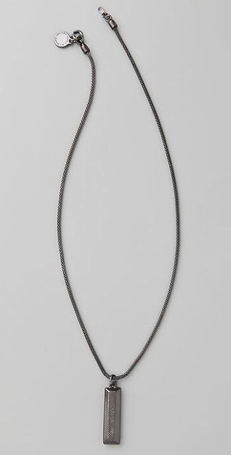 Marc by Marc Jacobs Crosshatch Plaque Pendant Necklace