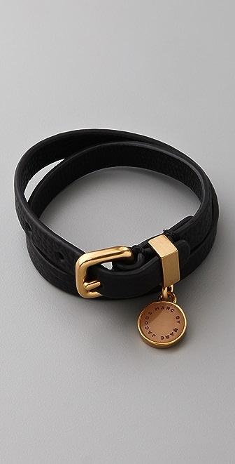 Marc by Marc Jacobs Leather Concrete Jungle Double Wrap Bracelet