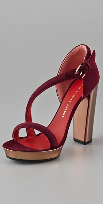 Marc by Marc Jacobs Diagonal Strap Suede Platform Sandals