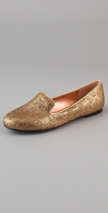 Marc by Marc Jacobs Jumbled Logo Metallic Flats