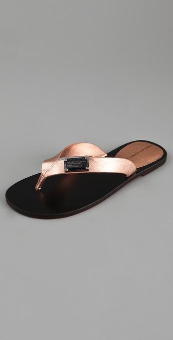 Marc by Marc Jacobs Logo Plaque Metallic Flip Flops