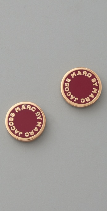 Marc by Marc Jacobs Classic Marc Enamel Logo Disc Stud Earrings