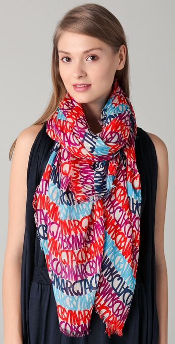 Marc by Marc Jacobs Linear Logo Woven Scarf