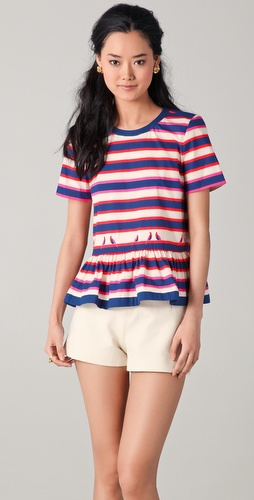 Marc by Marc Jacobs Flavin Striped Peplum Blouse