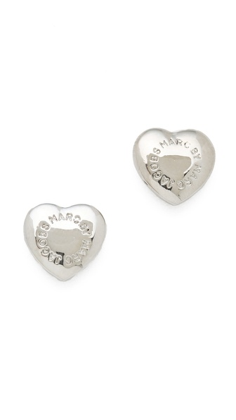 Marc by Marc Jacobs Logo Heart Stud Earrings
