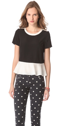 Shop Marc by Marc Jacobs Avery Silk Peplum Top and Marc by Marc Jacobs online - Apparel,Womens,Tops,Blouse, online Store