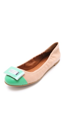 Shop Marc by Marc Jacobs Exclusive Bicolor Logo Plaque Flats and Marc by Marc Jacobs online - Footwear,Womens,Footwear,Flats, online Store