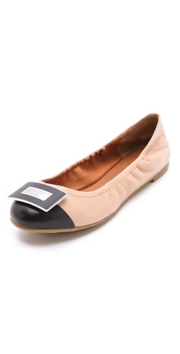 Shop Marc by Marc Jacobs Bicolor Logo Plaque Flats and Marc by Marc Jacobs online - Footwear,Womens,Footwear,Flats, online Store