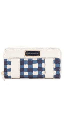 Shop Marc by Marc Jacobs Marc'D & Check'D Printed Slim Zippy Wallet and Marc by Marc Jacobs online - Accessories,Womens,SLGs,Wallets, online Store
