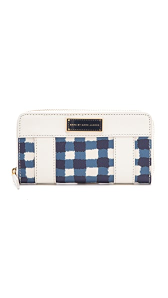 Marc by Marc Jacobs Marc'D & Check'D Printed Slim Zippy Wallet