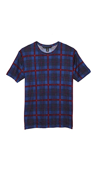 Marc by Marc Jacobs Sheer Plaid Crew Neck Tee