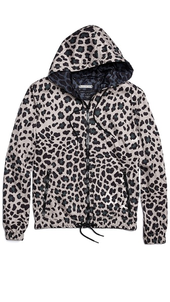 Marc by Marc Jacobs London Leopard Zip Up Hooded Windbreaker