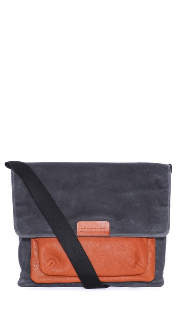 Marc by Marc Jacobs Canvas Messenger Bag with Leather Pocket