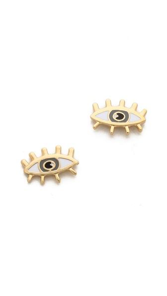 Marc by Marc Jacobs Metal Eye Stud Earrings