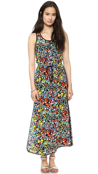 Shop Marc by Marc Jacobs online and buy Marc By Marc Jacobs Jungle Maxi Dress Black Multi - Circles and leaves form a striking, colorful print on this silk Marc by Marc Jacobs dress. A drawstring cinches the waist, and solid panels trace the edges. Buttoned keyhole. Unlined. Fabric: Silk crepe. 100% silk. Dry clean. Made in the USA. Measurements Length: 52in / 132cm, from shoulder Measurements from size S. Available sizes: L,M,S,XS