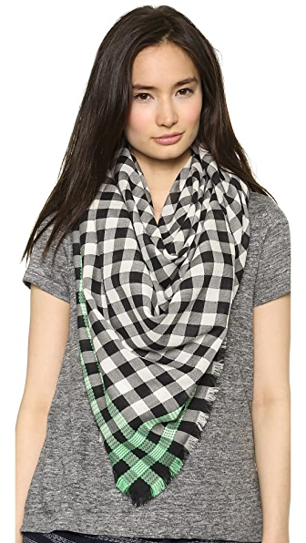 Marc by Marc Jacobs Check Yarn Dye Embroidered Scarf