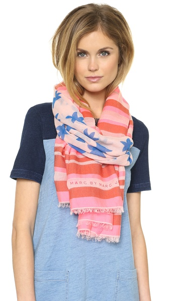 Marc by Marc Jacobs Palm Tree & Stripe Yarn Dye Scarf