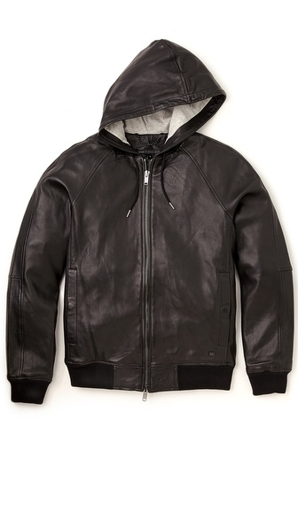 Marc by Marc Jacobs Leather Hooded Jacket