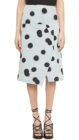 Marc By Marc Jacobs Drape Front Pencil Skirt - Cloud Blue Multi