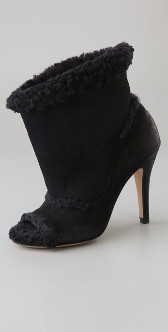 Maison Martin Margiela Open Toe Shearling Booties