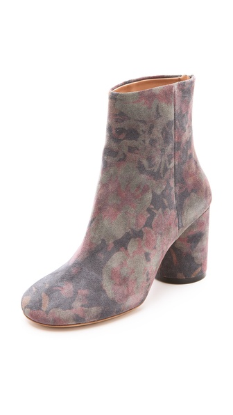 Maison Martin Margiela Flower Print Suede Booties