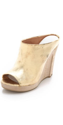 Maison Martin Margiela Metallic Wedged Mules at Shopbop.com