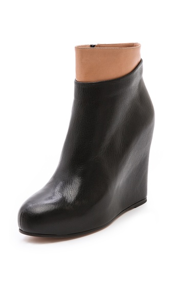 Maison Martin Margiela Leather Platform Booties - Black at Shopbop / East Dane