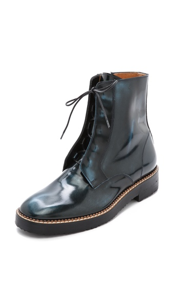 Shop Maison Martin Margiela online and buy Maison Martin Margiela Leather Combat Boots Blue online
