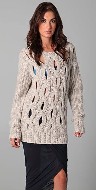 Markus Lupfer Hand Knit Cable Sweater