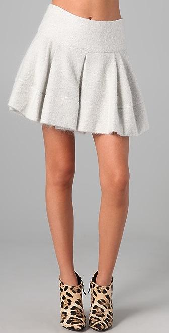 Markus Lupfer Hazy Mohair Pleated Skirt