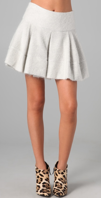 Markus Lupfer Hazy Mohair Pleated Skirt
