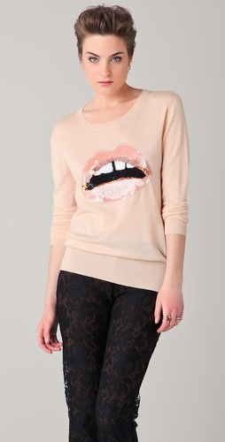 Markus Lupfer Nude Sequined Lip Sweater