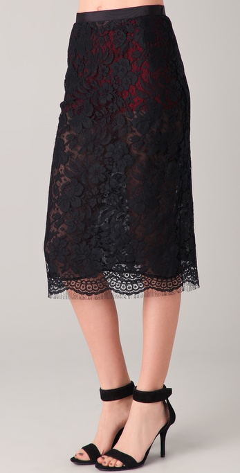 Markus Lupfer French Lace Midi Skirt