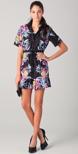 Markus Lupfer Hawaiian Print Frill Shirtdress