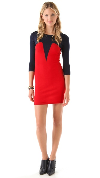 Markus Lupfer Intarsia Bodice Dress