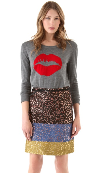 Markus Lupfer Intarsia Smacker Lip Sweater