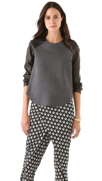 Markus Lupfer Contrast Leather Raglan Top