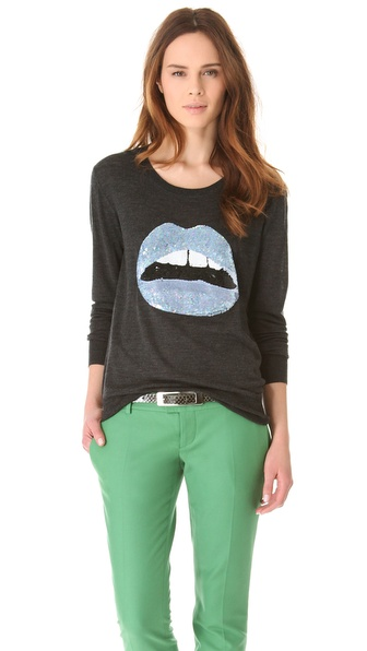 Markus Lupfer Ice Blue Sequin Lip Sweater
