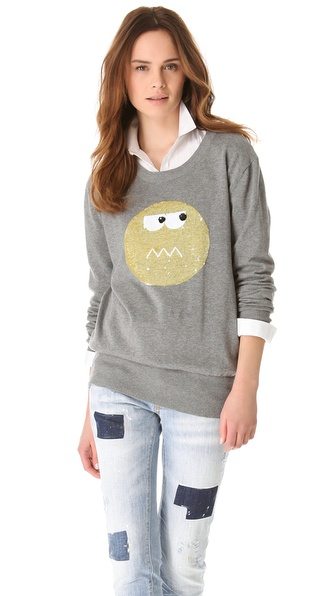 Markus Lupfer Cute Face Sequin Sweater