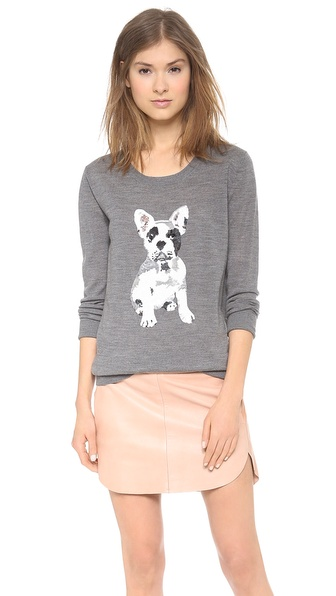 Markus Lupfer Sequin Bulldog Joey Sweater