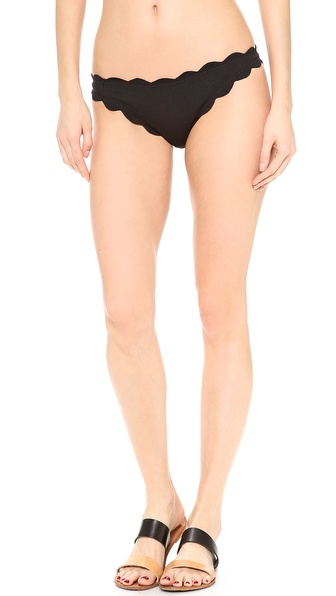 Shop Marysia Swim online and buy Marysia Swim Antibes Scallop Bikini Bottoms Black - Scalloped edges lend a sweet look to Marysia Swim bikini bottoms. Unlined. 88% nylon/12% lycra. Wash cold. Imported, China. Available sizes: L,M,XS