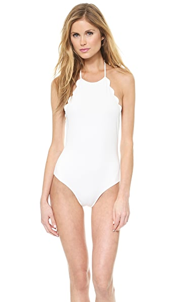 Marysia Swim Halter Low Back Scallop Bathing Suit