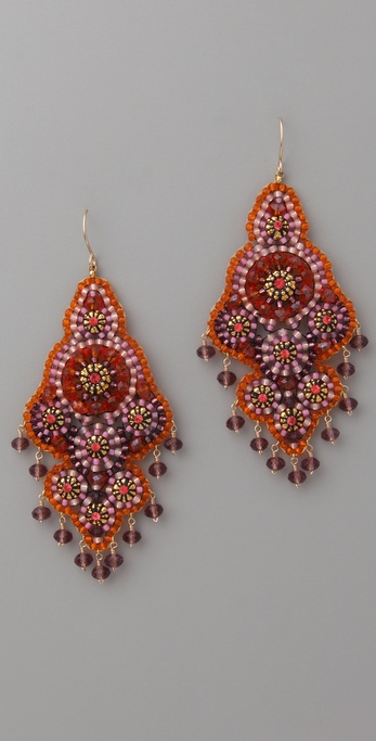 Miguel Ases Fire Opal Quartz Swarovski Earrings